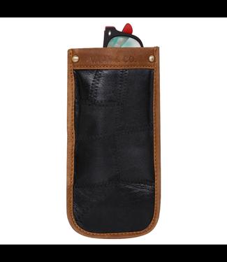 Vaan & Co Black Eyeglass Sleeve - Upcycled Genuine Leather