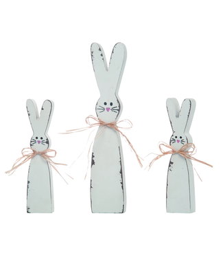 """Transpac Wood 12"""" White Easter Shabby Chic Bunnies Set of 3"""