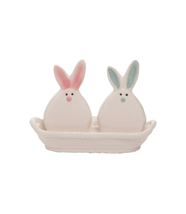 Transpac 6 in. White Easter Pom Pom Bunnies Salt and Pepper Set (3 Piece)