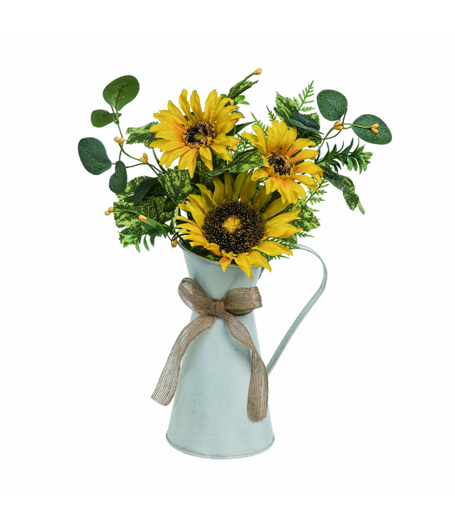 """Transpac 16"""" Multi Spring Sunflower Arrangement in Water Pitcher"""