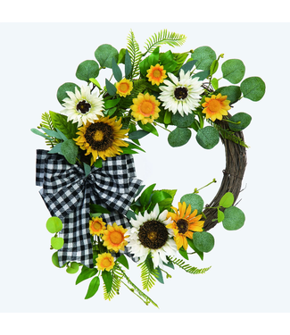 """Transpac 23"""" Spring Sunflower and Gingham Wreath"""