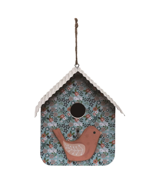 Transpac Wood 9 in. Multicolor Spring Patterned Birdhouse