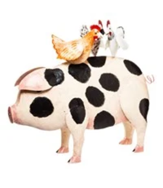 Evergreen Enterprises Large Handcrafted Pig with Chicken Statue