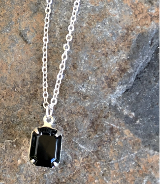 Buffalo Girls Salvage Black Vintage Swarovski Crystal Necklace