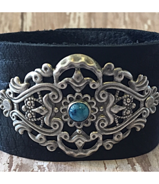 Buffalo Girls Salvage Silver Filigree Leather Bracelet With Turquoise Stone
