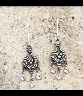 Buffalo Girls Salvage Antique Silver Crystal Chandelier Earrings