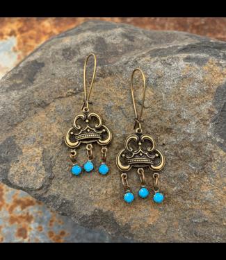 Buffalo Girls Salvage Crown Drop Earrings - Swarovski Turquoise Jewelry