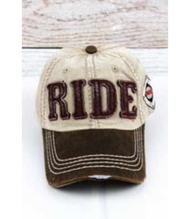 Distressed Khaki Ride Cap