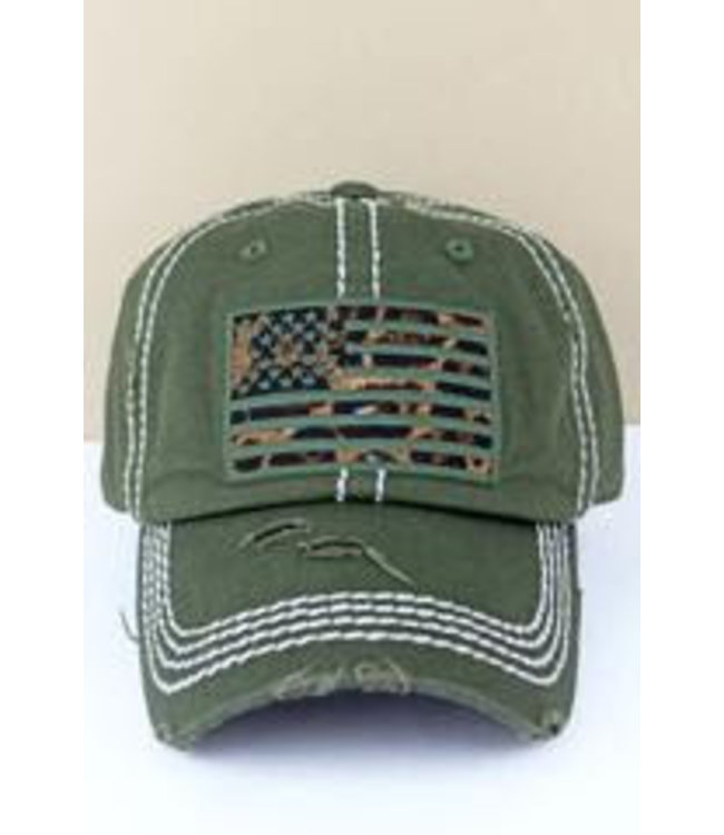 Distressed Olive Leopard Flag Cap