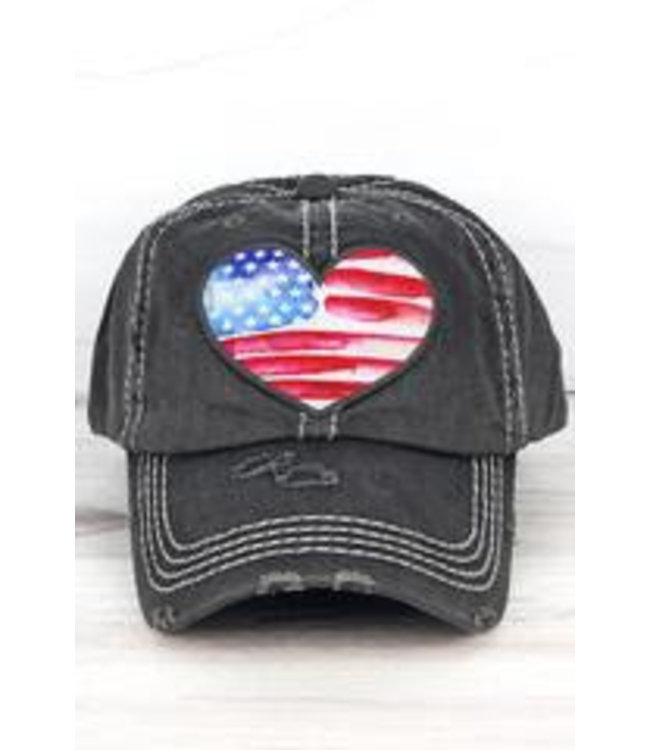 Distressed Black Watercolor American Flag Heart Cap