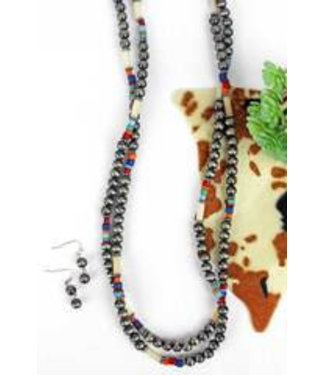Silver Springs Multi-Color Beaded Long Necklace and Earring Set