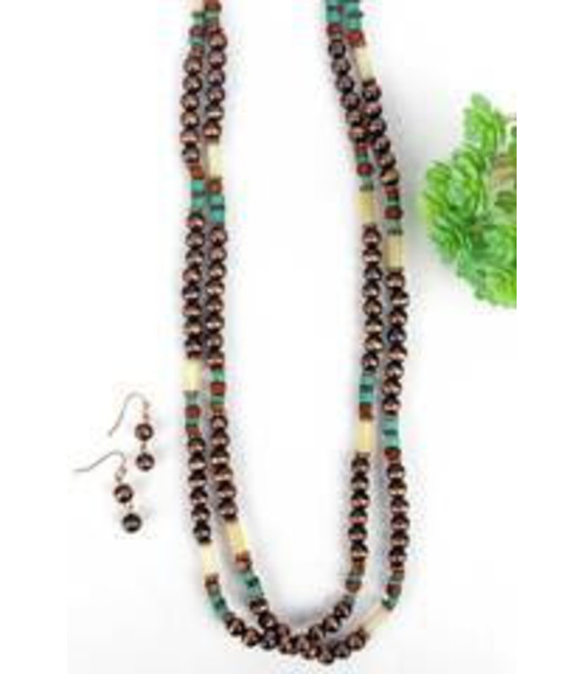 Copper Creek Turquoise Beaded Long Necklace and Earring Set