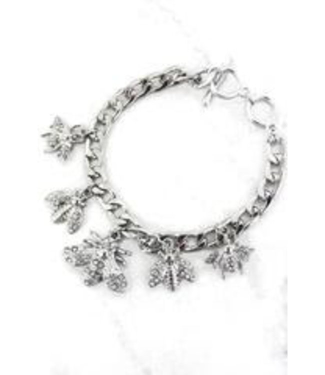 Crystal Bee Charming Toggle Bracelet