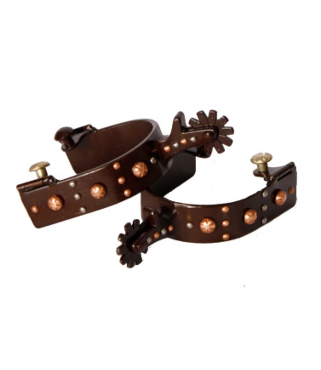 Brown Steel Spur with Engraved Copper Studs