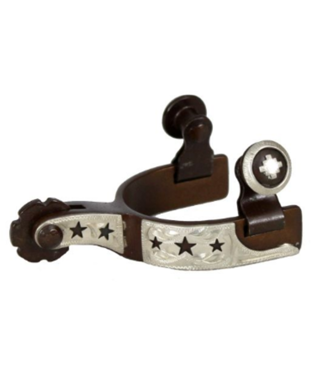 Showman Brown Steel SIlver Cut Outs Toddler Spurs