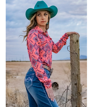Cowgirl Tuff Coral Aztec Print Athletic Pullover Button-Up Shirt