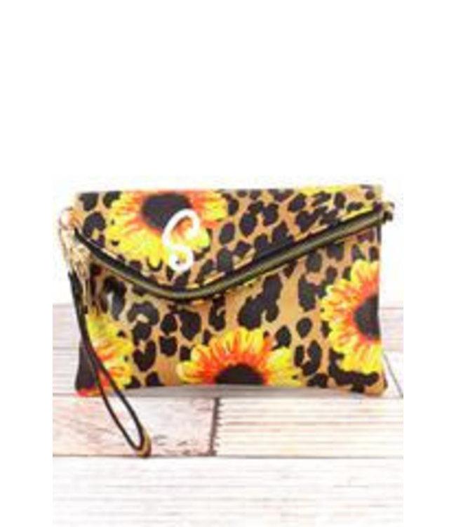 NGIL Sunflower Leopard Faux Leather Envelope Crossbody Clutch