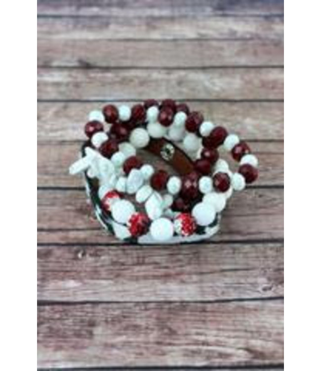 Crimson and White Leopard and Mixed Bead Alabama Bracelet Set