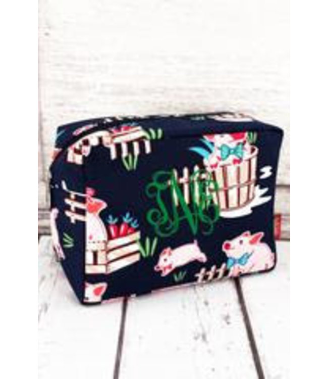 NGIL Playful Pigs Cosmetic Case with Navy Trim