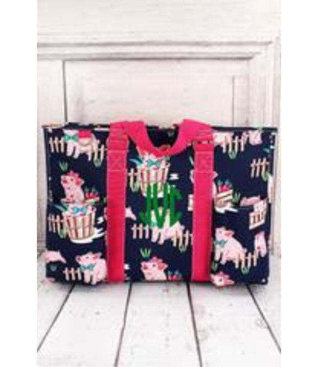 NGIL Playful Pigs with Hot Pink Trim Large Organizer Tote