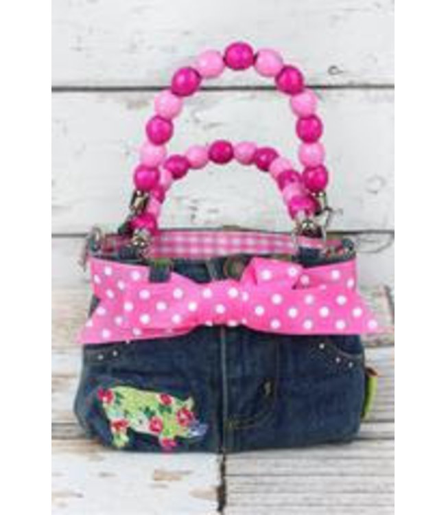 NGIL Floral Pig Baby Denim Jeans Box Bag with Beaded Handles