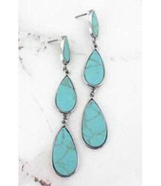 Silvertone Trimmed Turquoise Tiered Teardrop Earrings