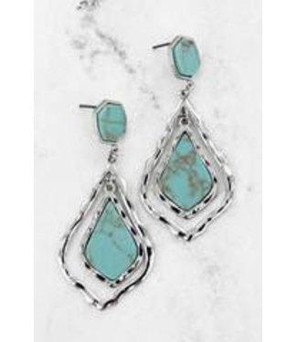 Turquoise and Silvertone Arabian Teardrop Earrings