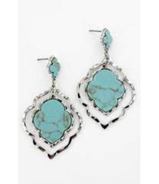 Turquoise and Silvertone Morocco Earrings