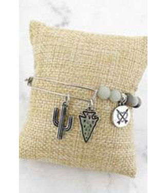 Silvertone Cactus and Arrowhead Charm Mint Semi-Precious Stone Bracelet