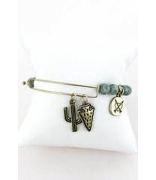 Goldtone Cactus and Arrowhead Charm Green Semi-Precious Stone Bracelet