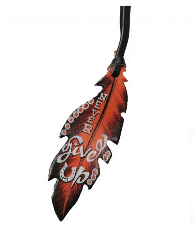 Never Give Up Feather Saddle Charm