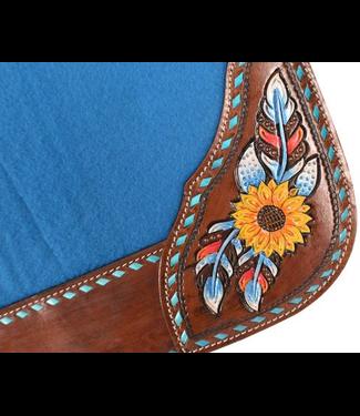Showman Turquoise Felt Saddle Pad w/ Sunflower Details