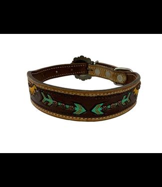 Showman Sunflower and Arrow Leather Dog Collar
