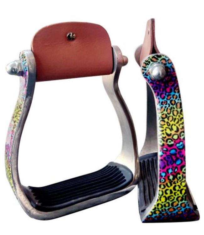 Showman Aluminum Stirrups Rainbow Cheetah Print