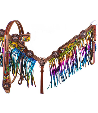 Showman Sunflower Cactus Tack Set with Rainbow Fringe