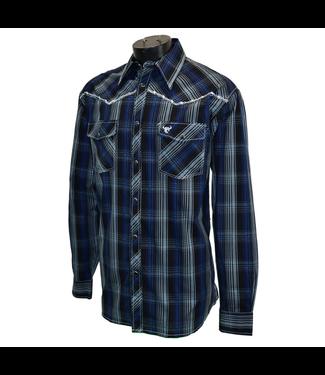 Cowboy Hardware Mens Halter Plaid Long Sleeve Black/Blue
