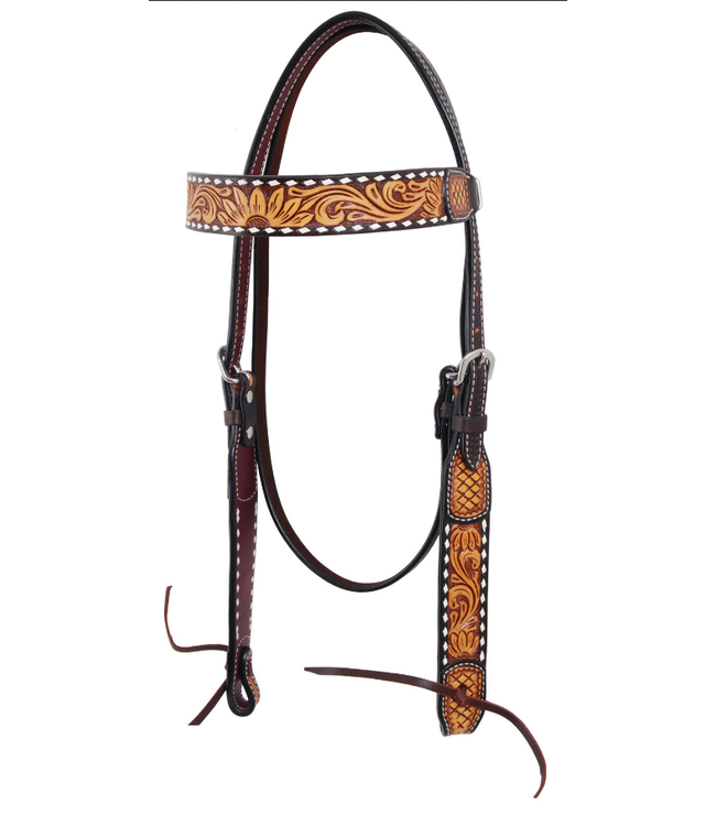 Rafter T Ranch Co. Browband Headstall with Floral & Sunflower Tooling, & White Buckstitch