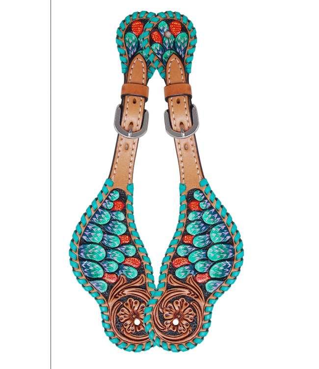 Rafter T Ranch Co. Ladies Spur Straps with Painted Cactus & Turquoise Whipstitch