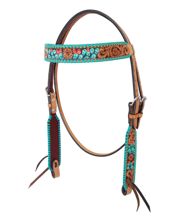 Rafter T Ranch Co. Browband Headstall with Painted Cactus & Turquoise Whipstitch
