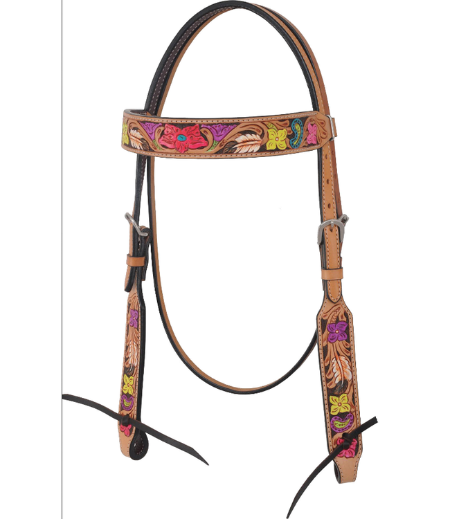 Rafter T Ranch Co. Browband Headstall with Multi Color Painted Floral Tooling