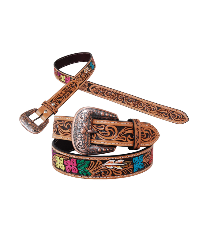 Rafter T Ranch Co. Belt with Multi Color Floral Tooling and Copper Buckle