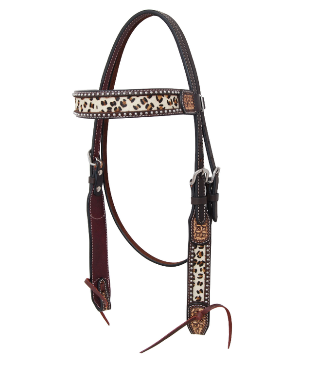 Rafter T Ranch Co. Browband Headstall with Leopard Hair On Inlay