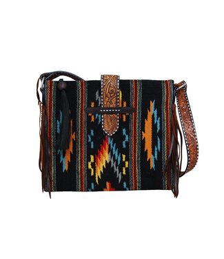 Rafter T Ranch Co. Belted Woolen Tote with Fringe and Hair Tassel