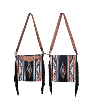 Rafter T Ranch Co. Wool Crossbody with Leather Top and Fringe