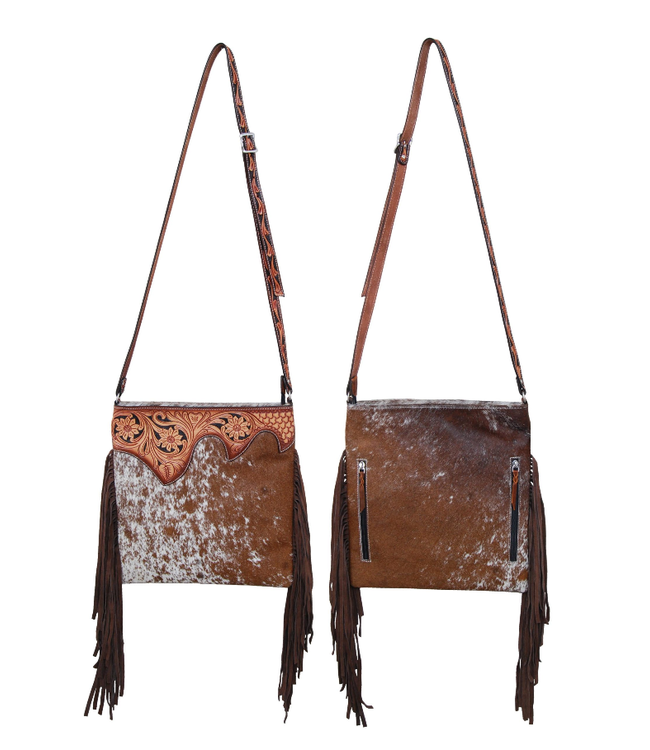 Rafter T Ranch Co. Hair On Cowhide Crossbody with Tooled Leather Top and Fringe