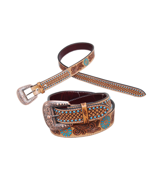 Rafter T Ranch Co. Belt with Tooling and Turquoise Spots
