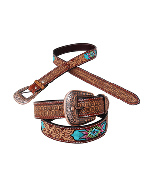 Rafter T Ranch Co. Belt with Rose Tooling and Beaded Inlay