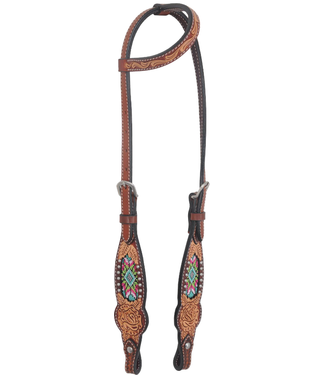 Rafter T Ranch Co. One Ear Headstall with Beaded Inlay