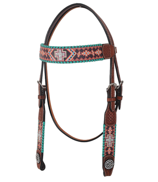 Rafter T Ranch Co. Browband Headstall with Crystal Cross and Aztec Design