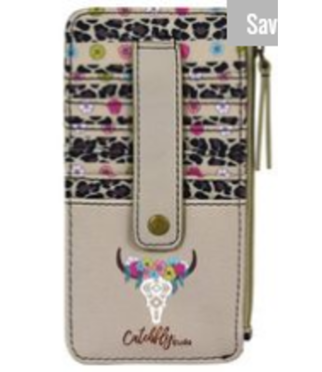 Catchfly Catchfly Card Wallet Floral Cow Skull